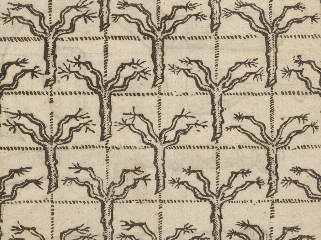 Illustration of grafted tree branches from Folger STC 5874.