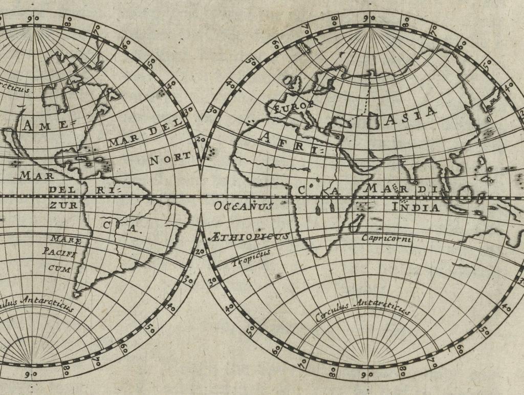 Illustration of world map from Folger B3213.