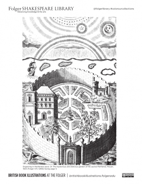 Coloring page from an engraving of a walled garden, with ship and rainbow in the background, from Folger STC 12958.