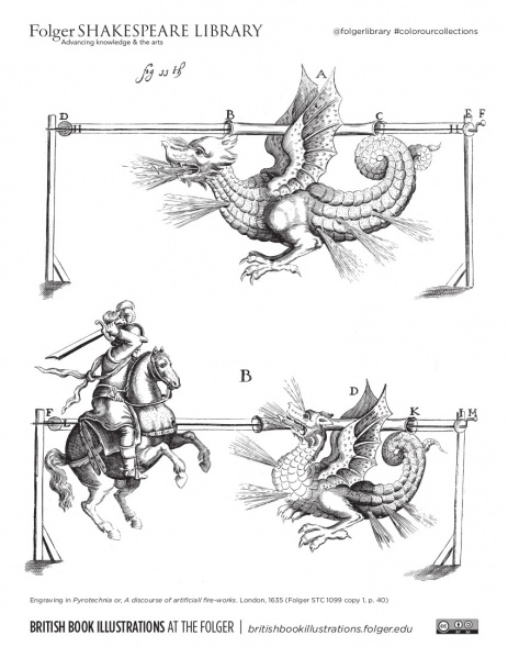 Coloring page from an engraving of mechanical dragon and St. George fighting, with fireworks, from Folger STC 1099 copy 1.