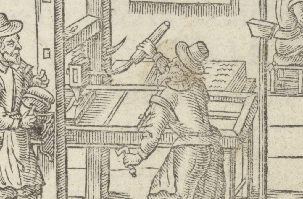 Illustration of printing press in use, from Folger STC 25740.