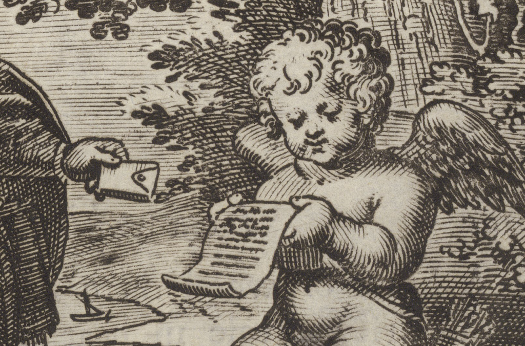 Illustration of Cupid with letter, from Folger STC 24627a.5 Copy 1.